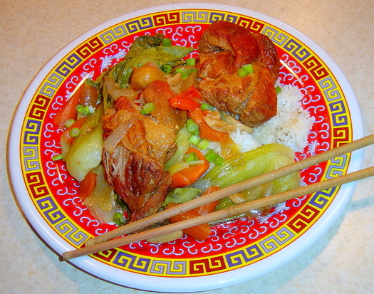 braised pork ribs in chee hao sauce