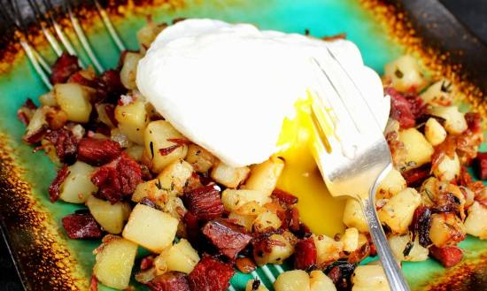 Corned Beef Hash with Poached Egg