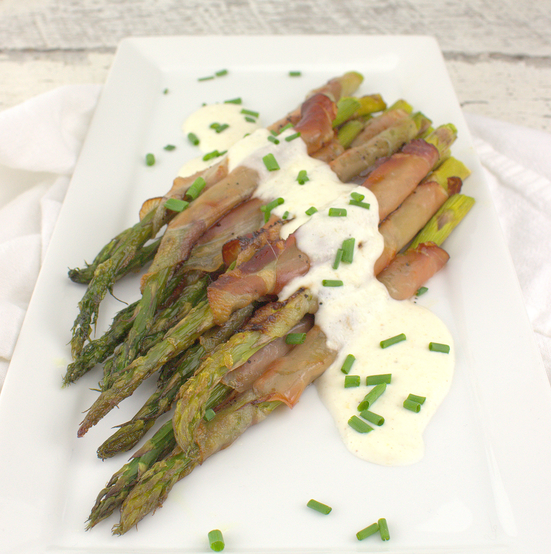 Roasted Asparagus with Speck and Creamy Horseradish Sauce