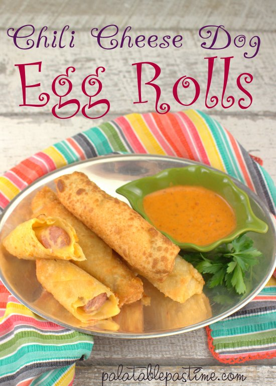 Chili Cheese Dog Egg Roll #recipe  Crispy chili cheese dog egg rolls are way easier to make than corn dogs and can be perfect for party appetizers or game day eats.  Ingredients: hot dogs, cheese, egg roll wrappers, cheese spread, chili