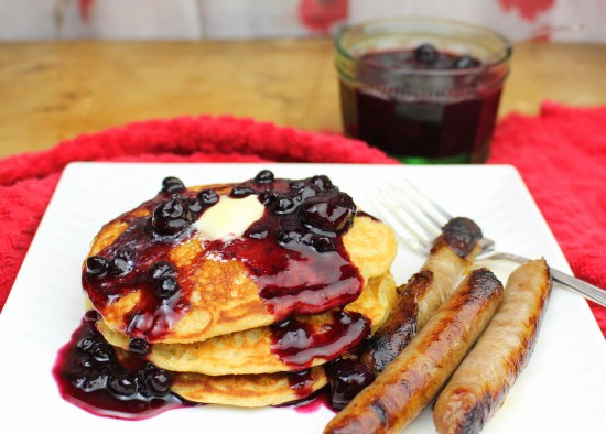Quick Blueberry Pancake Syrup with Honey Oatmeal Pancakes