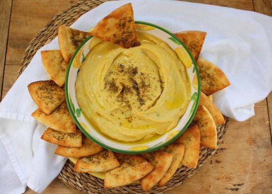 Lemony Roasted Garlic Hummus with Herb Toasted Pita