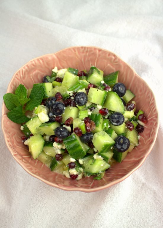 Persian Blueberry Anar Salad with Cucumber