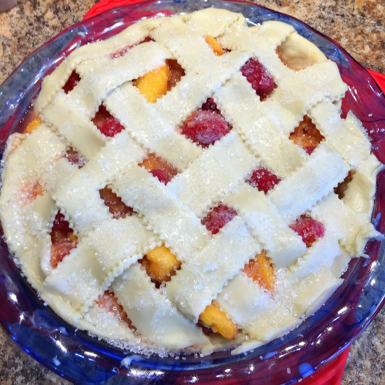 unbaked Raspberry Peach Pie