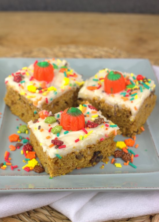 Amish Pumpkin Bars with Cream Cheese Frosting