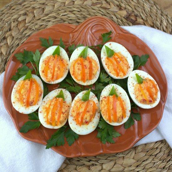 Jack O' Lantern Deviled Eggs