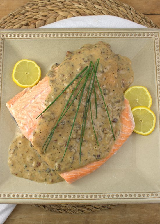 Poached Salmon with Bourbon Cream Sauce