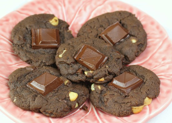 Vegan Double Chocolate Chunk Macadamia Nut Cookies