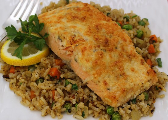 Salmon with Vegetable Herb Rice