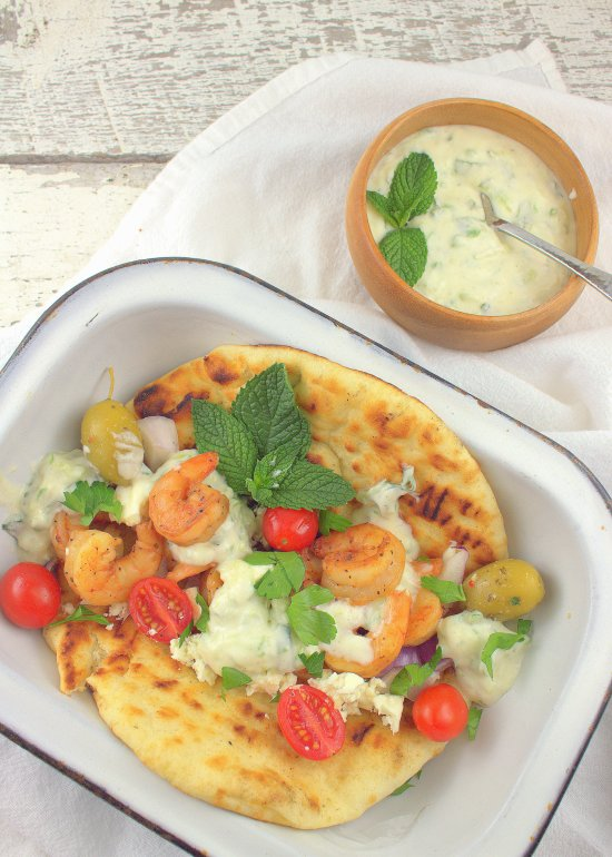 Grilled Shrimp Souvlaki on Pita