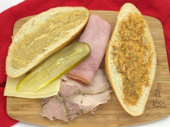 Unassembled Cuban sandwich