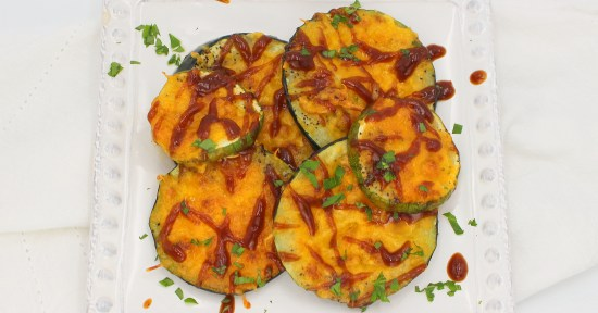 Cheddar Baked Zucchini with BBQ Sauce