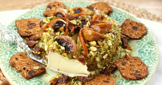 Pistachio and Marmalade Crusted Brie with Figs