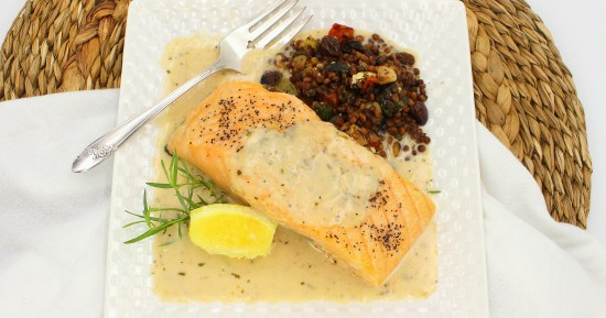 Salmon with Garlic Tarragon Cream Sauce