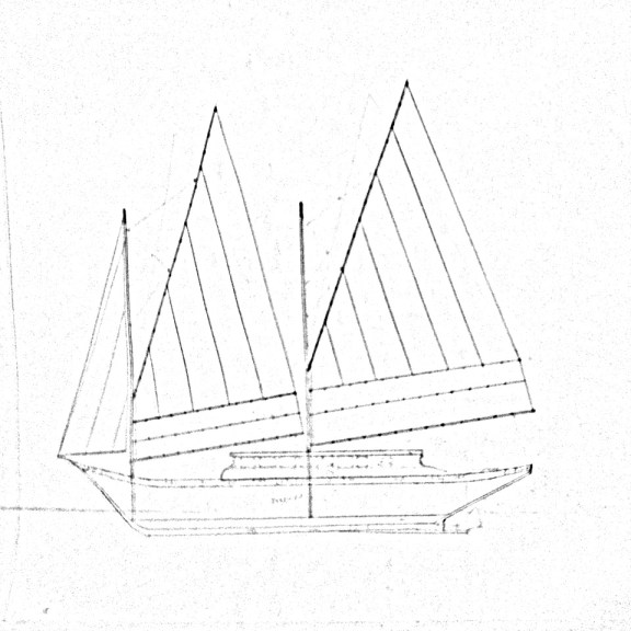 Original sketch by Jaime Maltos for the paraw [not to scale].