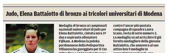 CNU: Medaglia di bronzo per Battaiotto