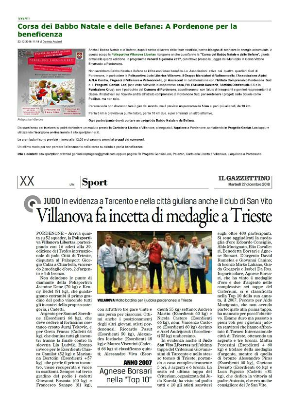Rassegna stampa polisportiva Villanova 201682