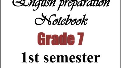 صورة تحضير رائع جدا لمبحث اللغة الإنجليزية للصف السابع الفصل الأول