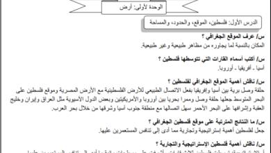 صورة أسئلة رائعة ومجابة للوحدة الأولى لجغرافية فلسطين عاشر الفصل الأول
