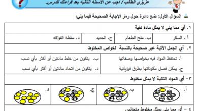 صورة مجمع أوراق عمل الدرس الثالث لكافة المواد الدراسية الصف الخامس الفصل الأول