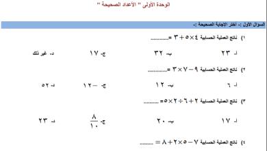 صورة مراجعة رائعة لوحدة الأعداد الصحيحة لرياضيات الصف السابع الفصل الأول