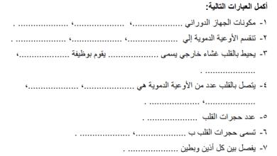 Photo of أوراق عمل رائعة للجهاز الدوراني لمبحث علوم تاسع الفصل الأول