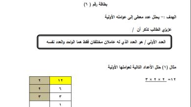 صورة أوراق عمل رائعة لتحليل عدد إلى العوامل الأولية لرياضيات سادس الفصل الأول