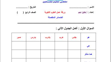 صورة ورقة عمل رائعة للضمائر المنفصلة لقواعد اللغة العربية رابع الفصل الأول