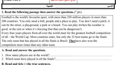 صورة امتحان رائع جدا للوحدة السادسة لمبحث اللغة الإنجليزية للصف السابع