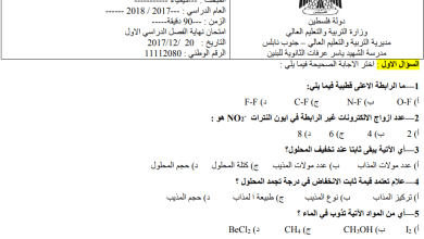 Photo of امتحان نهاية الفصل الأول لمبحث الكيمياء للحادي عشر علمي