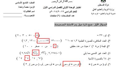 صورة امتحانات رائعة ومجابة لكافة وحدات مبحث الرياضيات للصف التاسع الفصل الأول