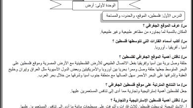 Photo of مراجعة هامة ومجابة لليلة الامتحان النهائي لمبحث جغرافية فلسطين وتاريخها عاشر