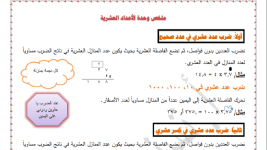 Photo of ملخص هام جدا مع أوراق عمل رائعة للوحدة الثانية لرياضيات خامس الفصل الثاني