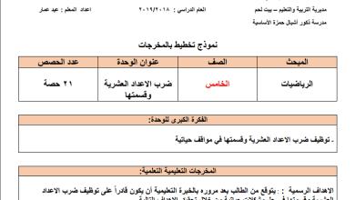 Photo of تحضير رائع بالمخرجات لوحدة الأعداد العشرية لرياضيات خامس الفصل الثاني