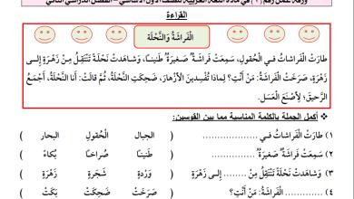 Photo of أوراق عمل رائعة لدرسي الفراشة والنحلة والقرد الطماع للغة العربية الصف الأول