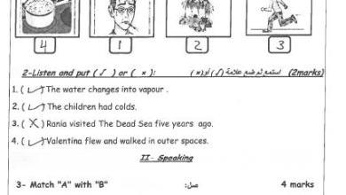 صورة امتحان وكالة مجاب ومصور لنهاية الفصل الثاني لمبحث اللغة الإنجليزية سادس 1