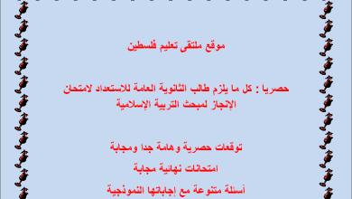 صورة حصرياً : كل ما يلزم طالب الثانوية العامة للاستعداد لامتحان التربية الإسلامية الإنجاز