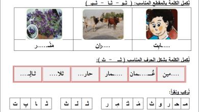 Photo of أوراق عمل رائعة لحرف الثاء لمبحث اللغة العربية للصف الأول الفصل الأول