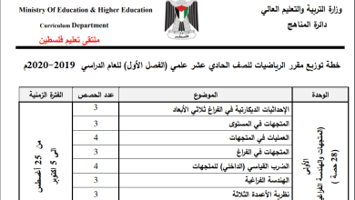 Photo of خطة الوزارة لعام 2019-2020 لمبحث الرياضيات للحادي عشر علمي الفصل الأول