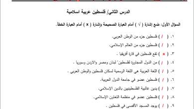 Photo of أسئلة مجابة ورائعة لدرس فلسطين عربية إسلامية لمبحث التنشئة رابع الفصل الأول