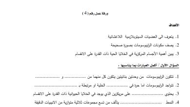 Photo of ورقة عمل مميزة للعضيات اللاغشائية لمادة الأحياء عاشر الفصل الأول