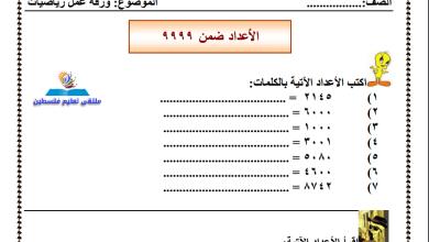 Photo of امتحان مهم جدا لمراجعة الأعداد ضمن 9999 لمبحث الرياضيات ثالث الفصل الأول