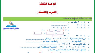 صورة أوراق عمل رائعة وشاملة لدروس وحدة الضرب والقسمة لرياضيات رابع الفصل الأول