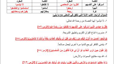 Photo of كل ما يلزم طالب الصف الثامن لتقديم امتحان نهاية الفصل الأول للتربية الإسلامية