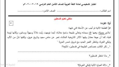 Photo of امتحانات تشخيصية رائعة للغة العربية والرياضيات واللغة الإنجليزية للصف الثامن