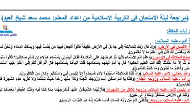 Photo of مراجعة ليلة الامتحان مجابة وهامة جدا لمبحث التربية الإسلامية بعد الحذف للتوجيهي