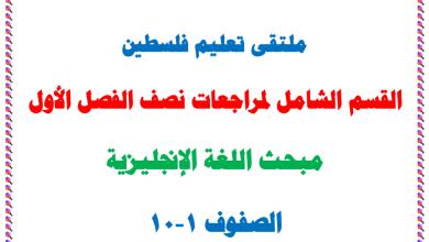 صورة القسم الشامل لمراجعات نصف الفصل الأول لمبحث اللغة الإنجليزية للصفوف 1-10