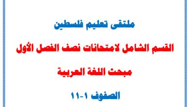 صورة القسم الشامل لامتحانات نصف الفصل الأول الرائعة لمبحث اللغة العربية للصفوف 1-11