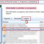 Office 2010: Reparar la instalación o agregar/quitar funciones