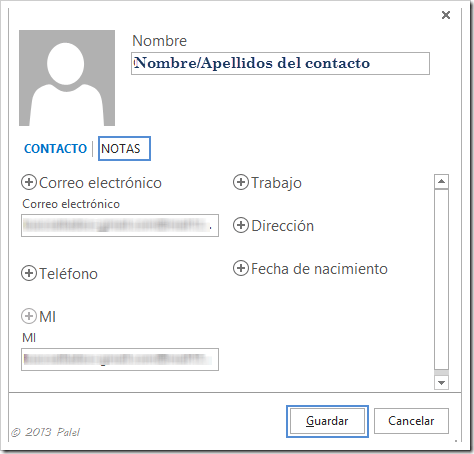Contactos Outlook 2013 2